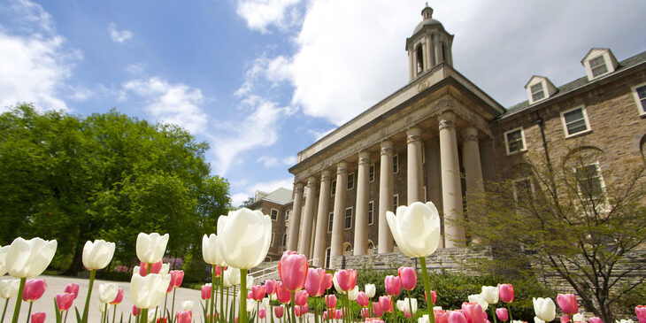 Old Main with tulips in foreground