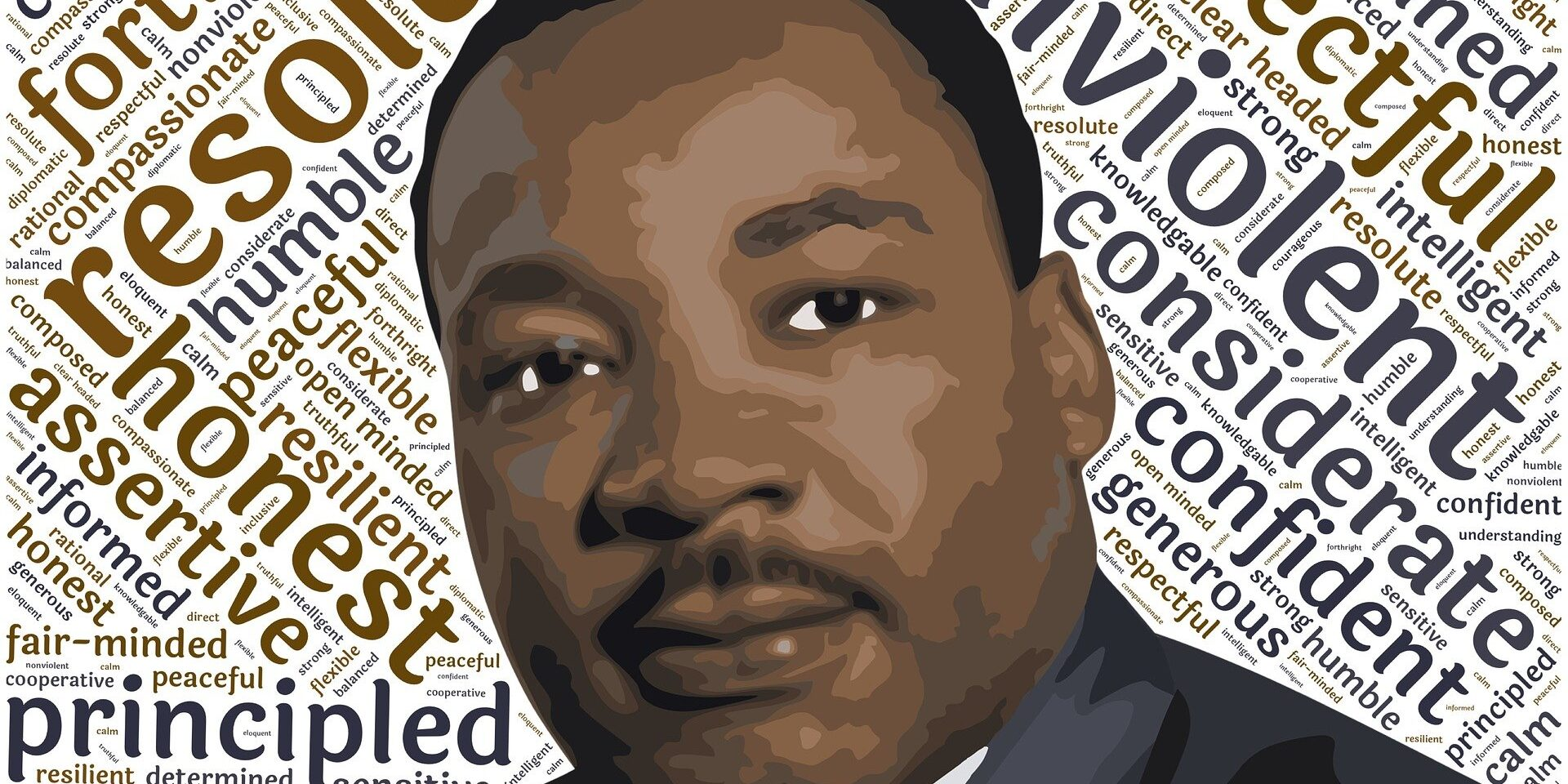Martin Luther King, Jr artistic likeness and word art